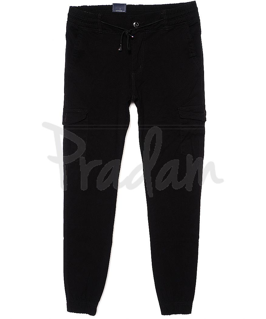 6008-1 Baron брюки мужские молодежные черные на манжете весенние стрейчевые (28-36, 8 ед.)