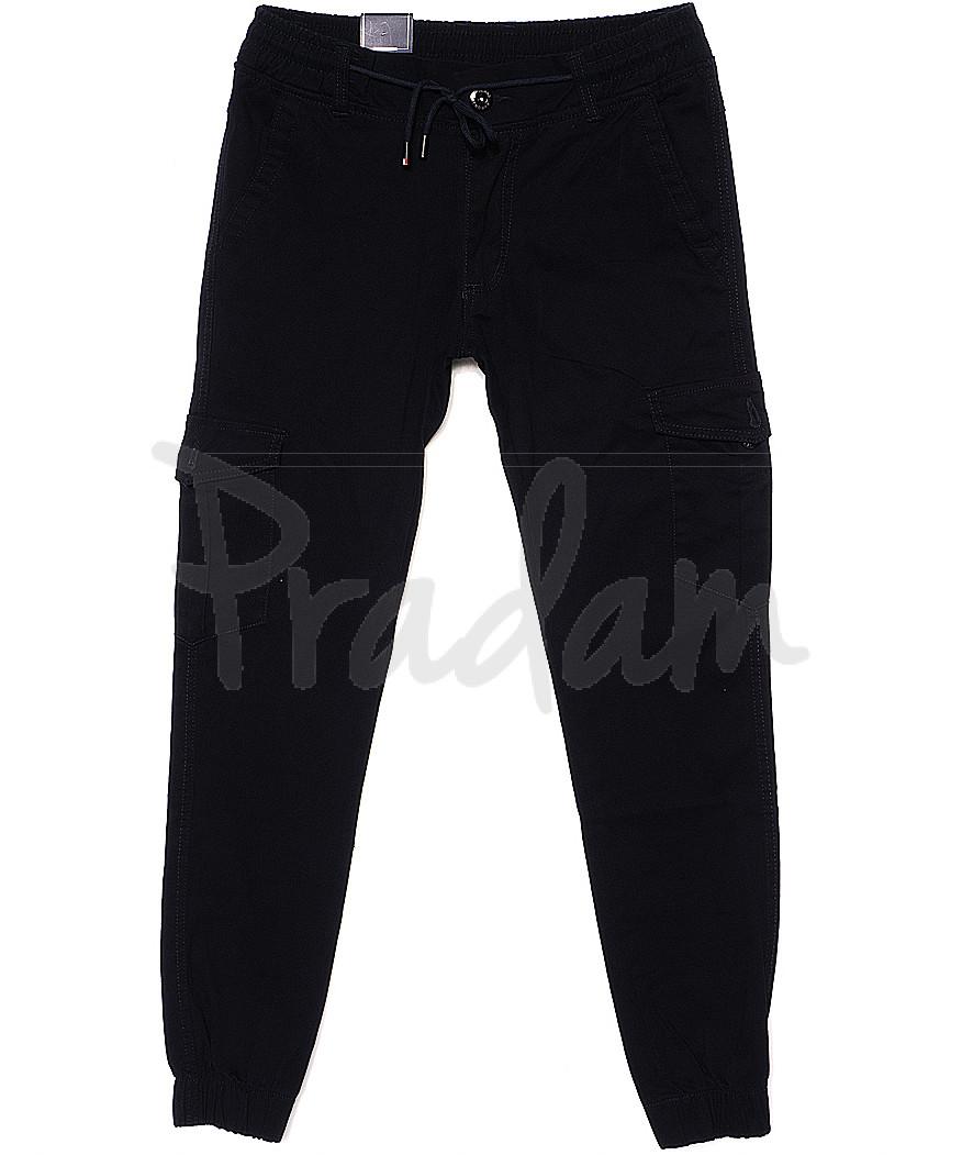 6008-2 Baron брюки мужские молодежные темно-синие на манжете весенние стрейчевые (28-36, 8 ед.)
