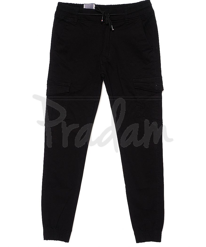 6010 Baron брюки мужские молодежные черные на манжете весенние стрейчевые (28-36, 8 ед.)