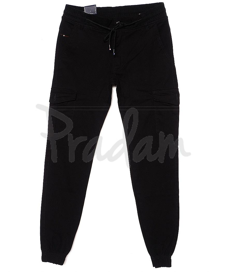 6006-1 Baron брюки мужские молодежные черные на манжете весенние стрейчевые (27-34, 8 ед.)