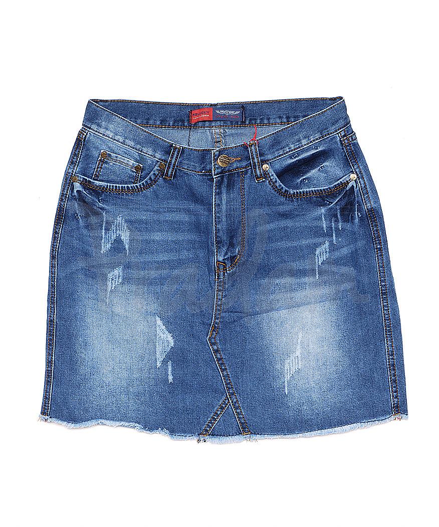V 0030-12 Relucky юбка джинсовая батальная с царапками весенняя котоновая (28-33, 6 ед.)