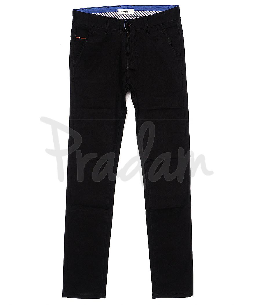 0670-34 Disvocas брюки мужские с косым карманом черные весенние стрейчевые (29-38, 8 ед.)