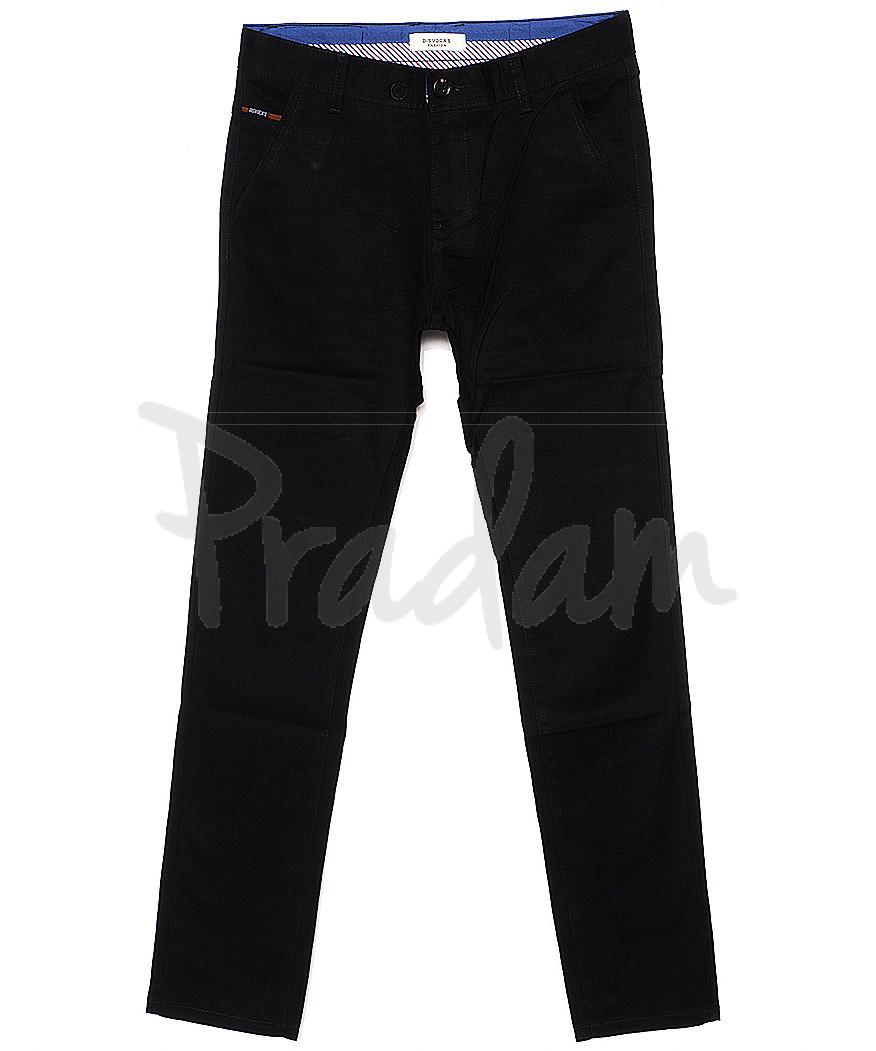 0671-34 Disvocas брюки мужские молодежные с косым карманом черные весенние стрейчевые (28-36, 8 ед.)