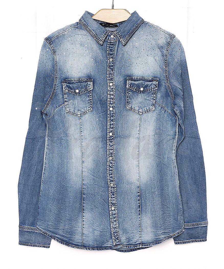 0141 (W141) Saint Wish рубашка джинсовая женская с камнями весенняя стрейчевая  (S-XL, 4 ед.)