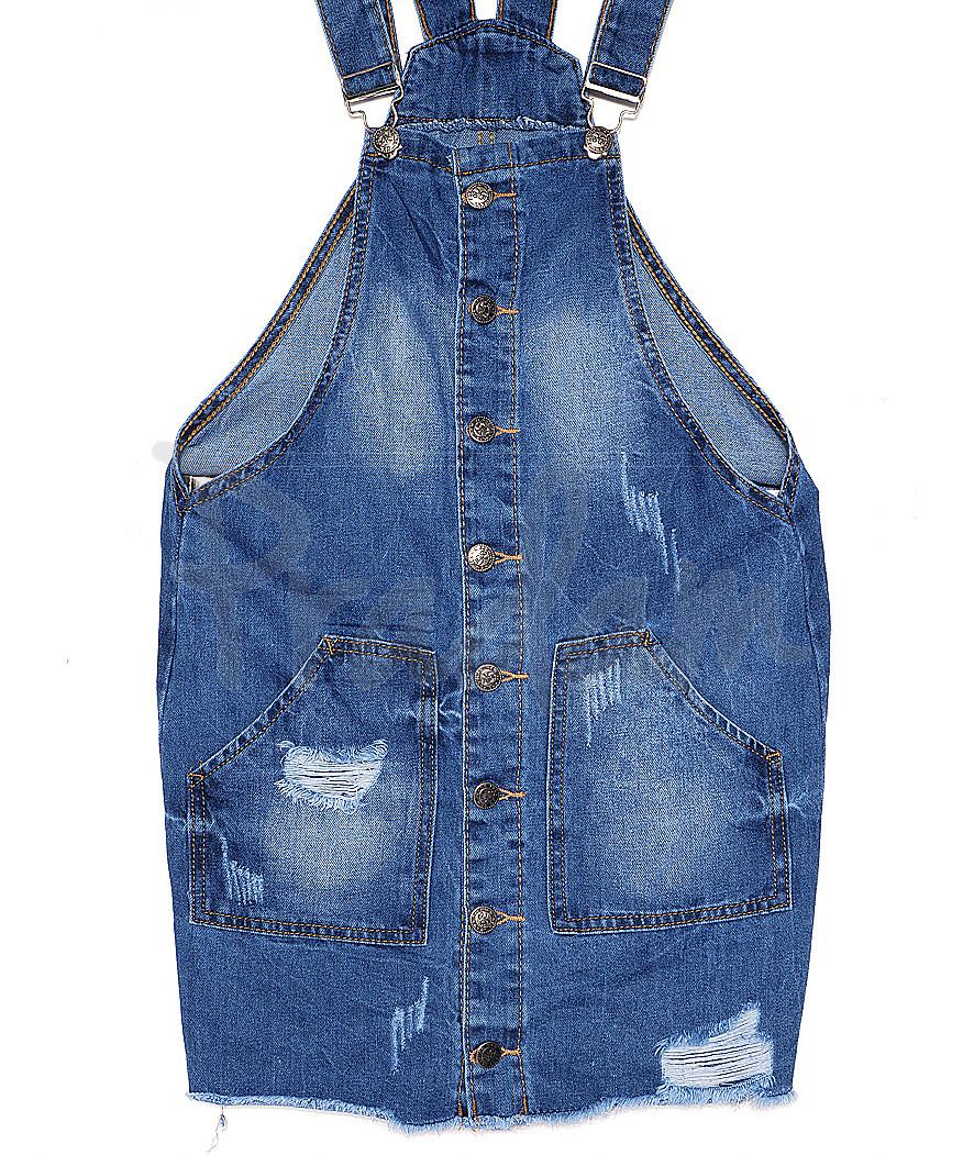 Y 0032-12 Relucky комбинезон - юбка джинсовый женский с рванкой весенний котоновый (25-30, 6 ед.)
