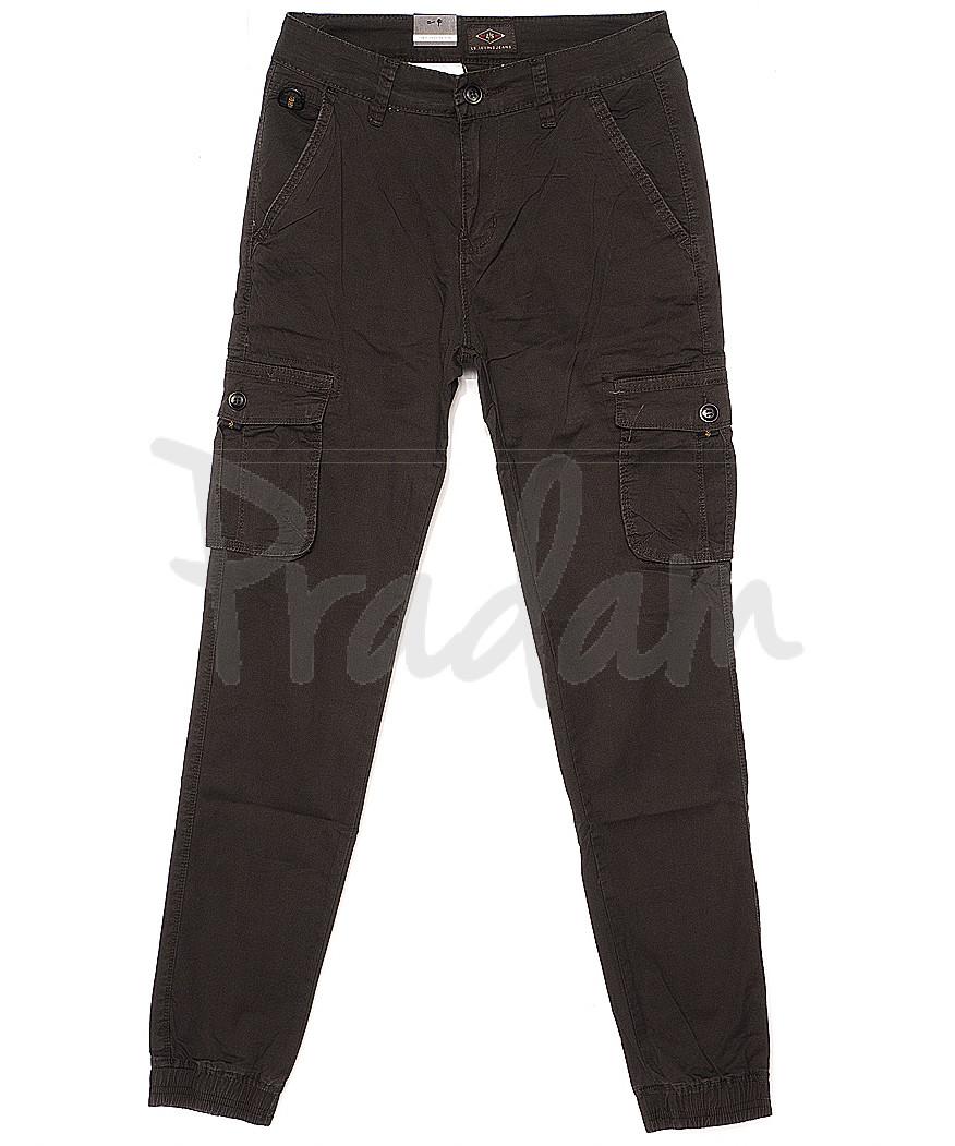 140062-X LS брюки мужские молодежные на манжете темно-серые весенние стрейчевые (27-34, 8 ед.)