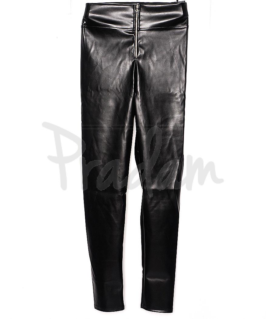 0608 черный X лосины кожаные с замочком весенние стрейчевые (42-46, 3 ед.)
