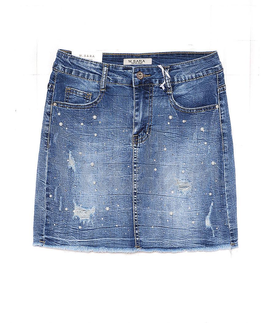 1068 M.Sara юбка джинсовая с жемчугом весенняя стрейчевая (26-32, 6 ед.)