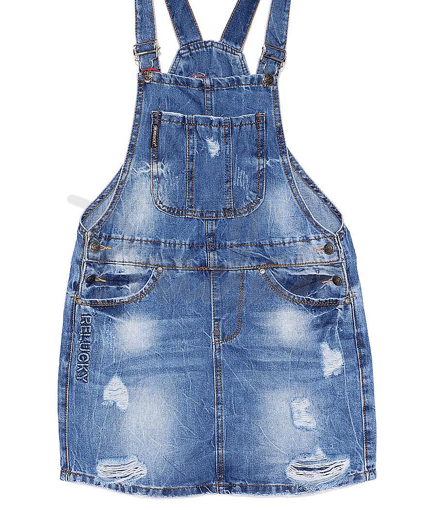 Y 0039-12 Relucky комбинезон-юбка джинсовый весенний котоновый (25-30, 6 ед.)