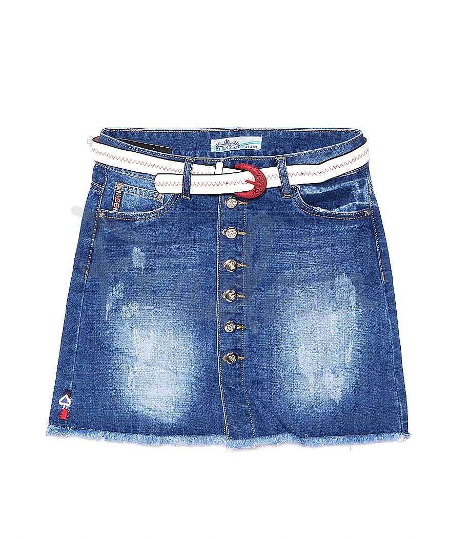 4200 Zijinyan юбка джинсовая на пуговицах весенняя стрейч-котон (25-30, 6 ед.)