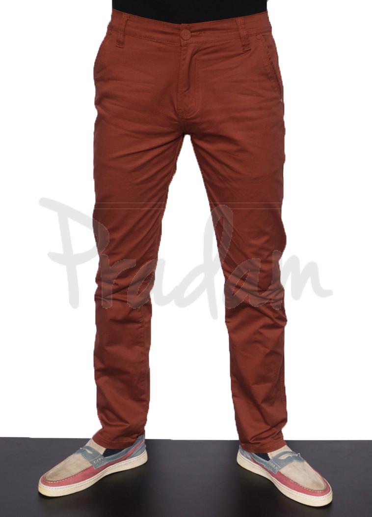 3407 DDKKS брюки мужские с косым карманом кирпичного цвета весенние стрейчевые (29-38, 8 ед.)
