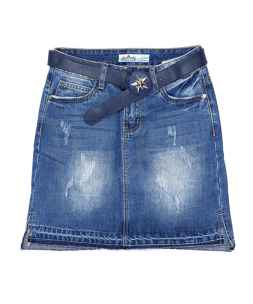 4756 Zijinyan юбка джинсовая с царапками весенняя стрейчевая (25-30, 6 ед.)