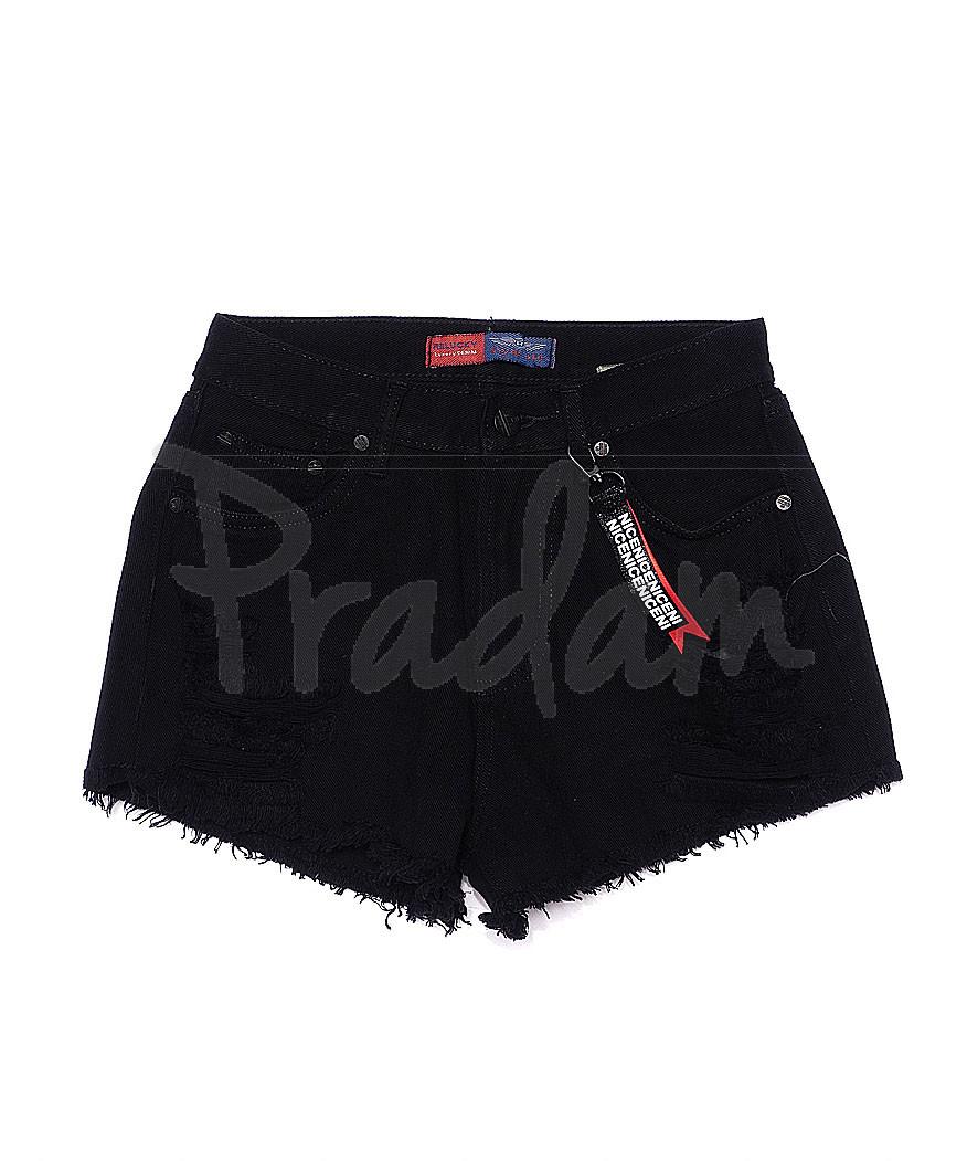 A 0031-15 Relucky шорты джинсовые женские черные с рванкой котоновые (25-30, 6 ед.)