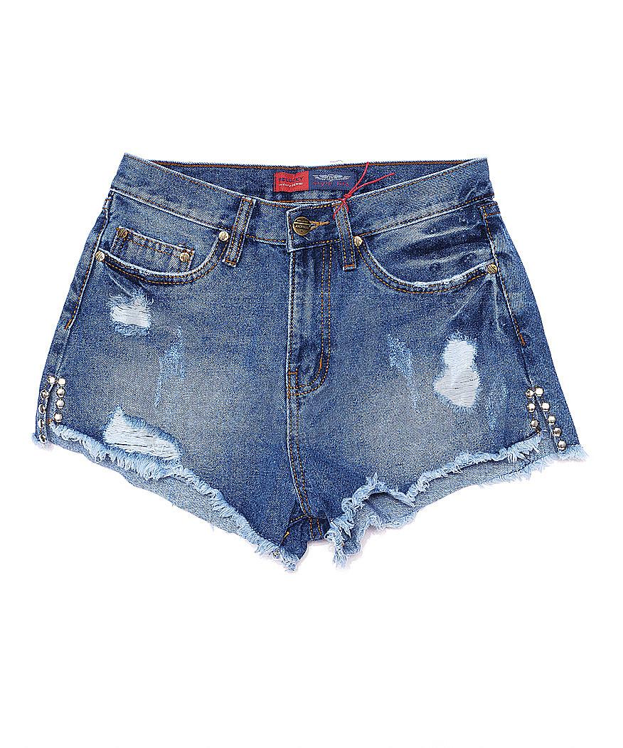 A 0023-12 Relucky шорты джинсовые женские с рванкой и царапками котоновые (25-30, 6 ед.)