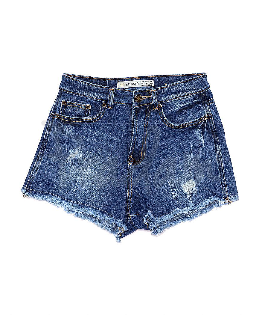 A 0063-10 Relucky шорты джинсовые женские с рванкой и царапками котоновые (25-30, 6 ед.)