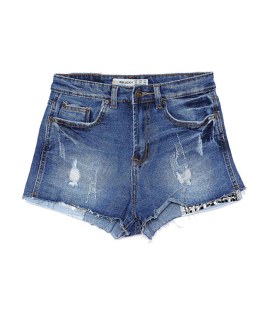 A 0062-10 Relucky шорты джинсовые женские с рванкой и царапками котоновые (25-30, 6 ед.)