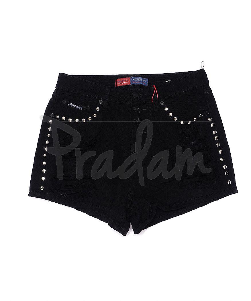 A 0030-15 Relucky шорты джинсовые женские стильные черные котоновые (25-30, 6 ед.)