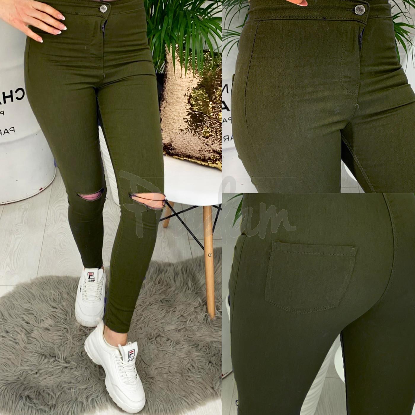 4000-06 TopShop хаки прорези Selfy женские джинсы без карманов с прорезями весенние стрейчевые (34-42, евро, 5 ед.)