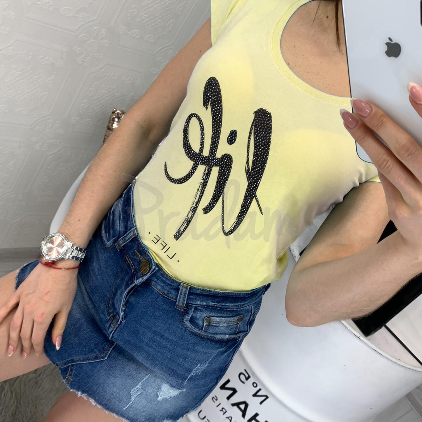 0103-01 желтая MMC футболка женская со стразами стрейчевая (S-XL, 4 ед.)
