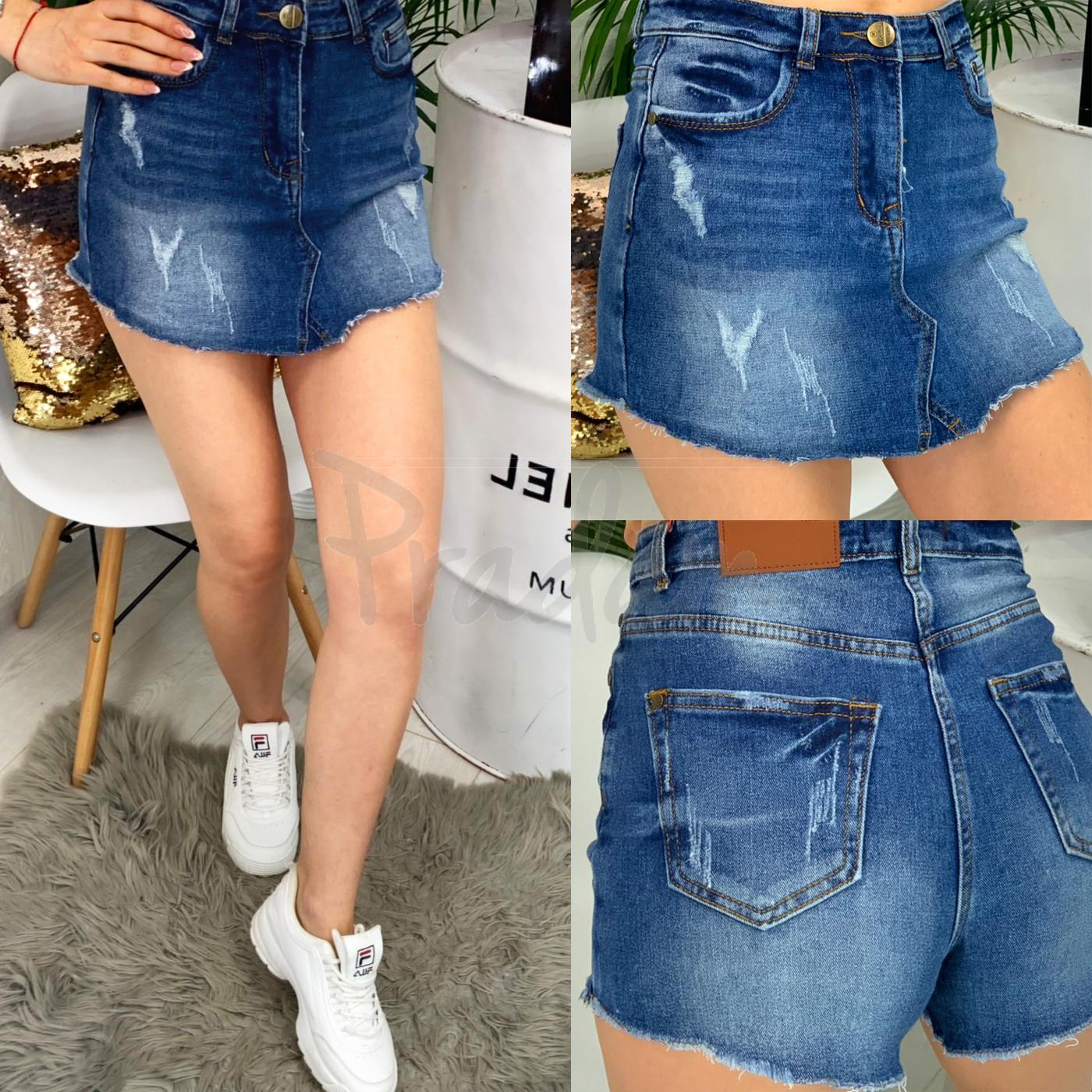 A 0102-9 Relucky шорты-юбка джинсовые с царапками стрейчевые (25-30, 6 ед.)