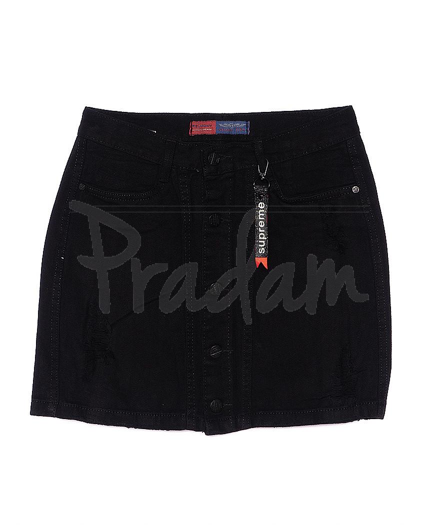 V 0032-15 Relucky юбка джинсовая на пуговицах черная котоновая (25-30, 6 ед.)
