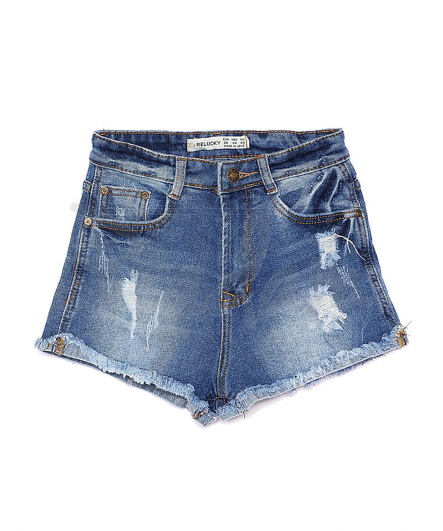 A 0067-10 Relucky шорты джинсовые женские с рванкой и царапками стрейчевые (25-30, 6 ед.)