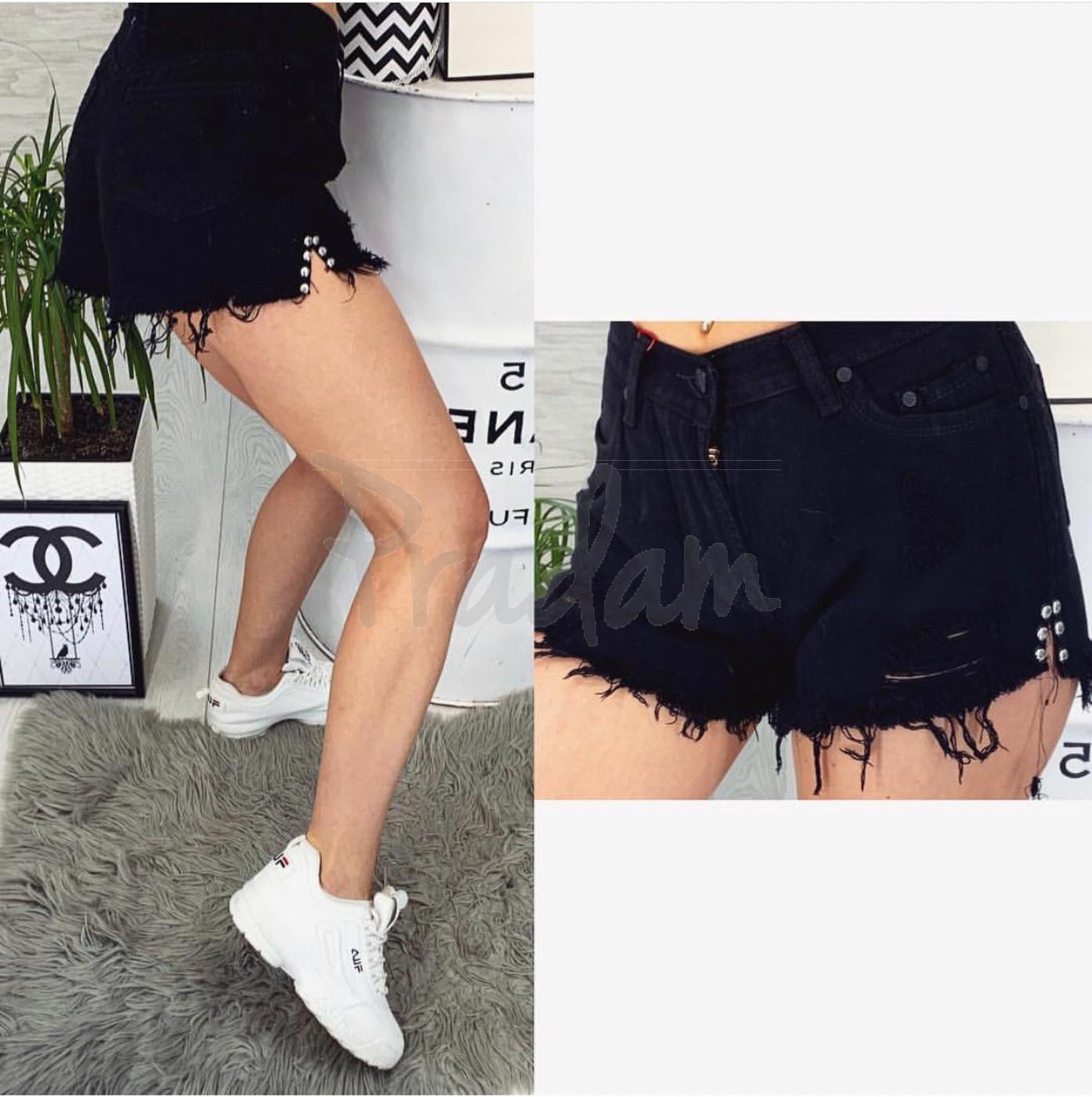 Шорты джинсовые женские черные с рванкой котоновые Relucky 0032-15