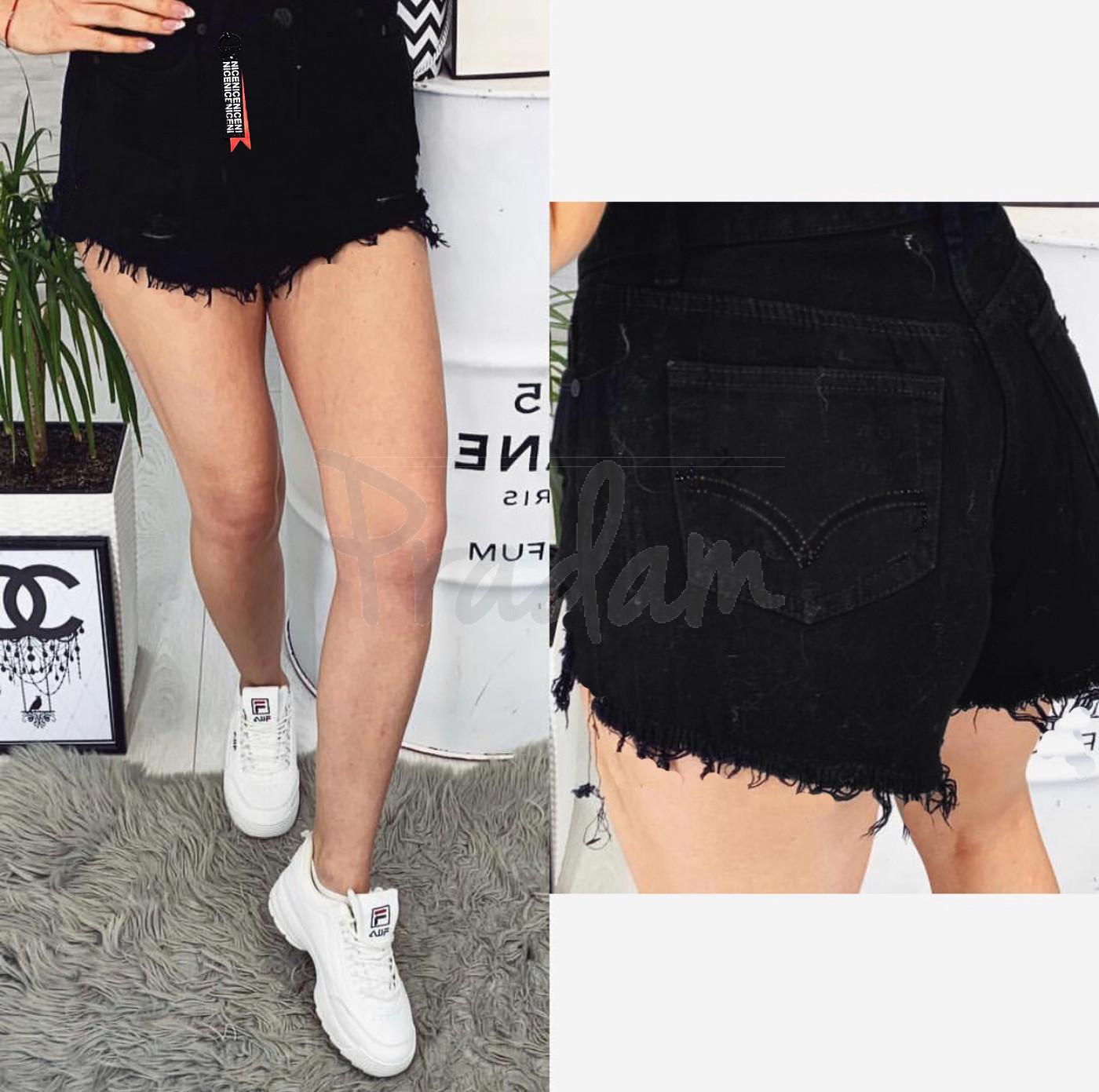 A 0036-15 Relucky шорты джинсовые женские черные с рванкой котоновые (25-30, 6 ед.)