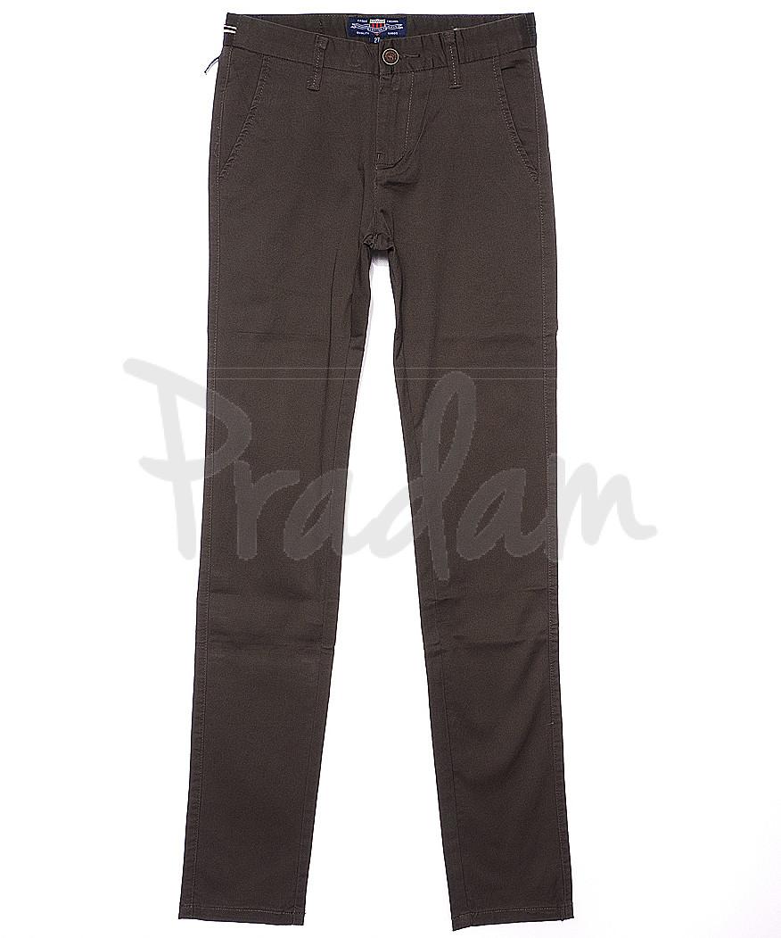 0636-4 Pobeda брюки мужские молодежные коричневые весенние стрейчевые (27-34, 8 ед.)
