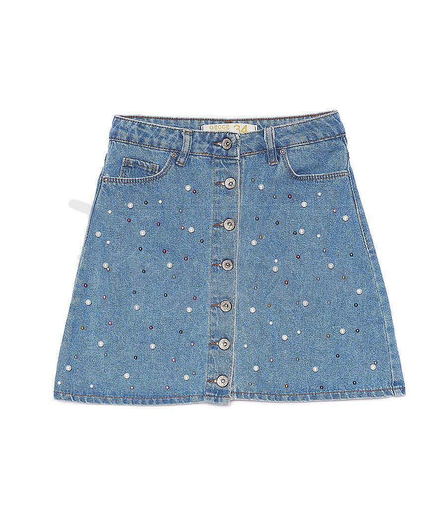 8752 By Gecce юбка джинсовая на пуговицах с жемчугом котоновая (34-40, евро, 6 ед.)
