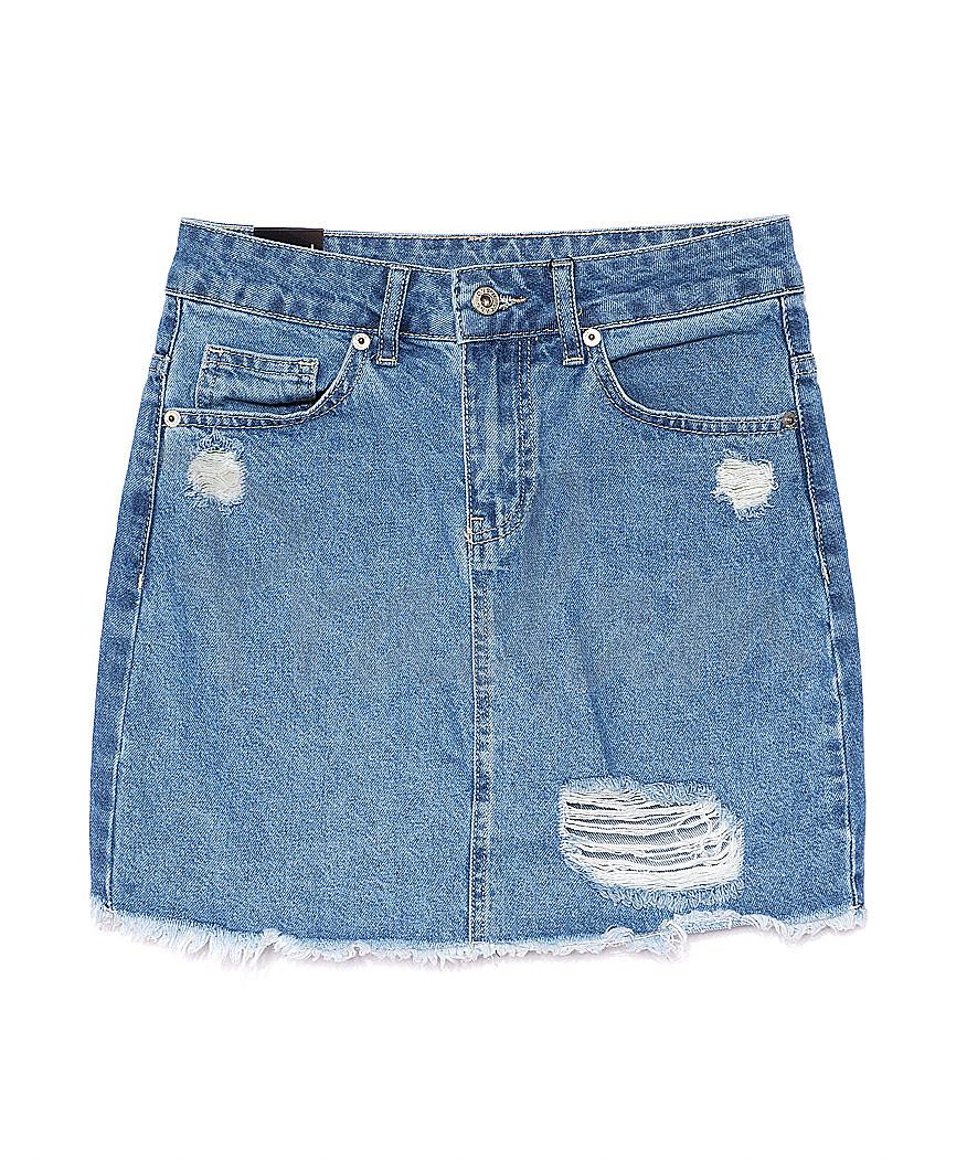 0057-3 (E57(3)) Ondi юбка джинсовая с рванкой котоновая (36-42, евро, 5 ед.)
