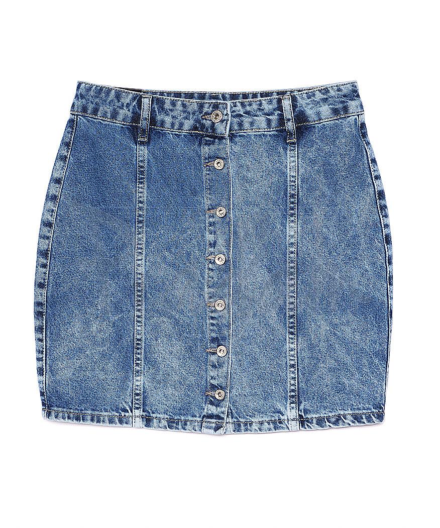 0054 (E54) синяя Ondi юбка джинсовая на пуговицах котоновая (36-42, евро, 5 ед.)