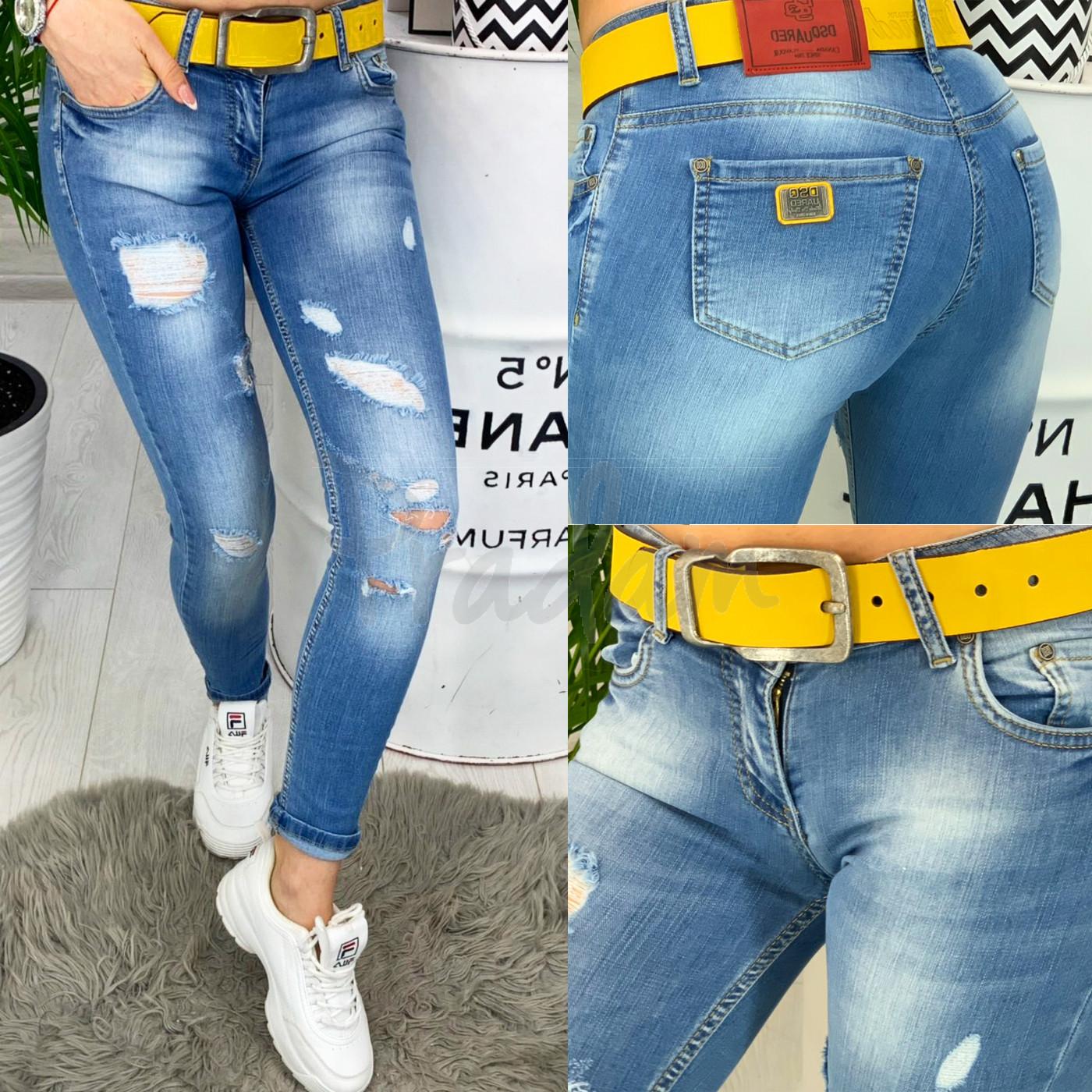 0606 Dsquared стильные женские джинсы с рванкой весенние стрейчевые (26-30, 6 ед.)