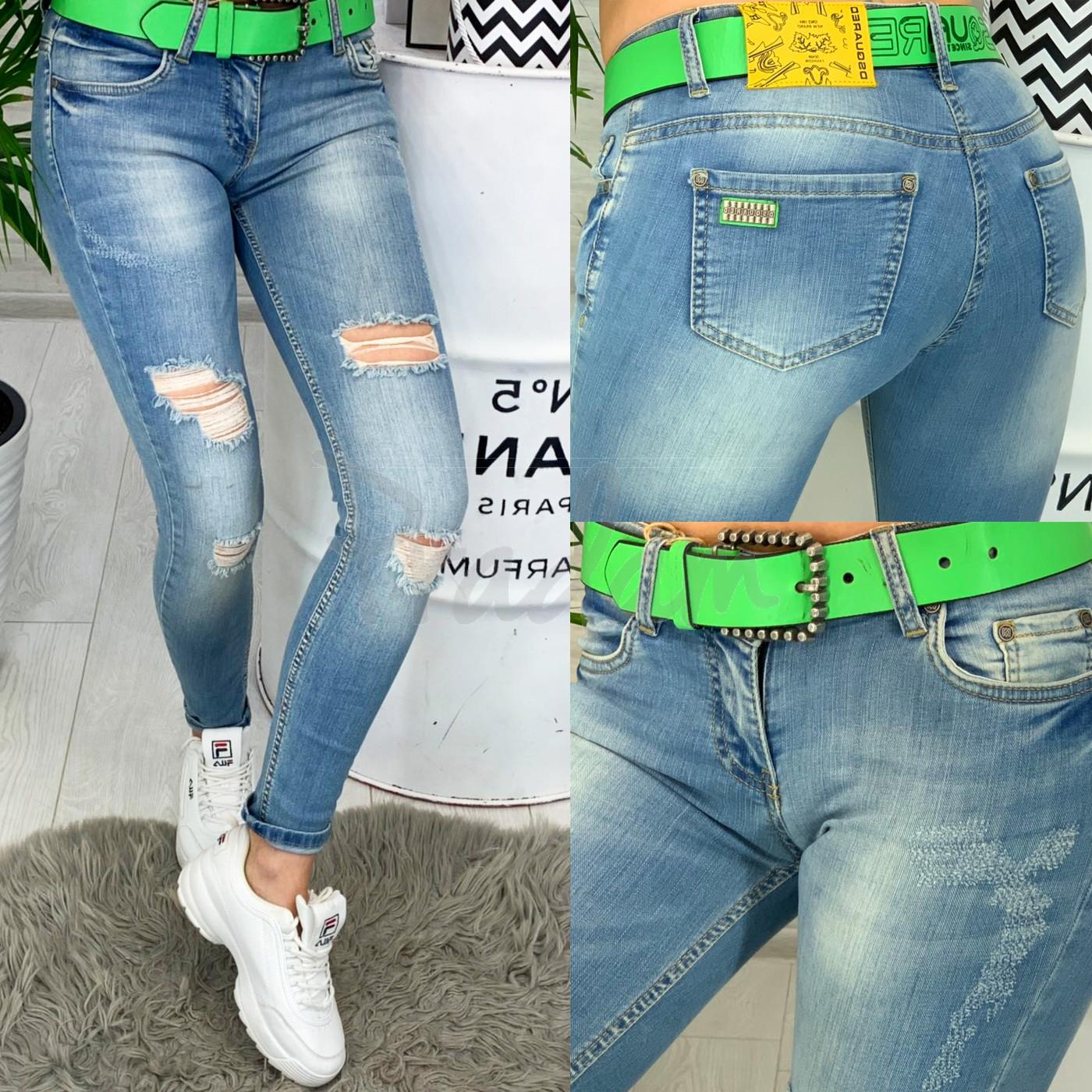 0607 Dsquared стильные женские джинсы с рванкой весенние стрейчевые (26-30, 4 ед.)
