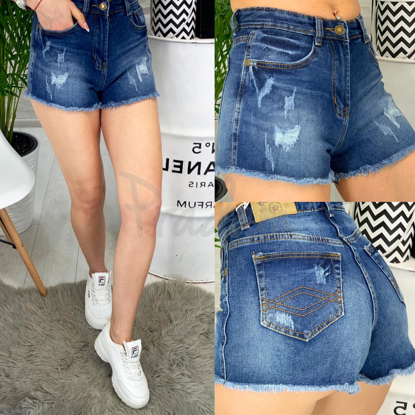 A 0071 Relucky шорты джинсовые женские с рванкой и царапками стрейчевые (25-30, 6 ед.)