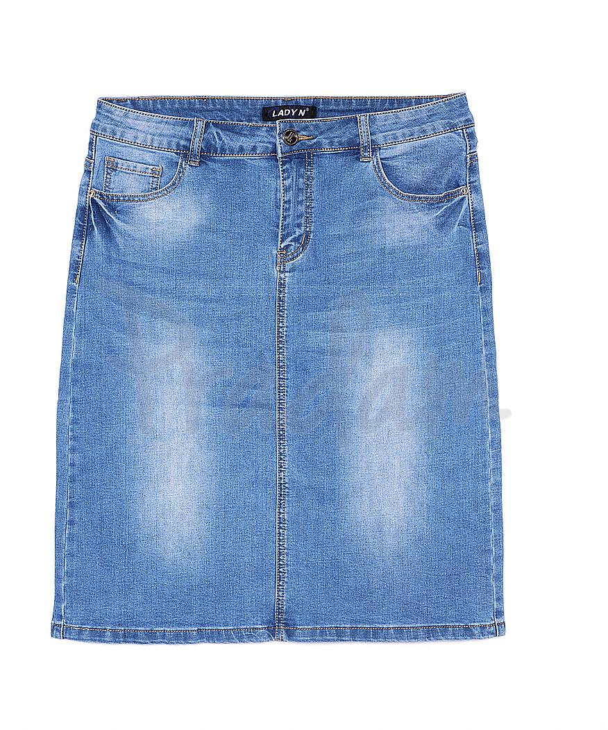 1304 Lady N юбка джинсовая батальная весенняя стрейчевая (32-42, 6 ед.)