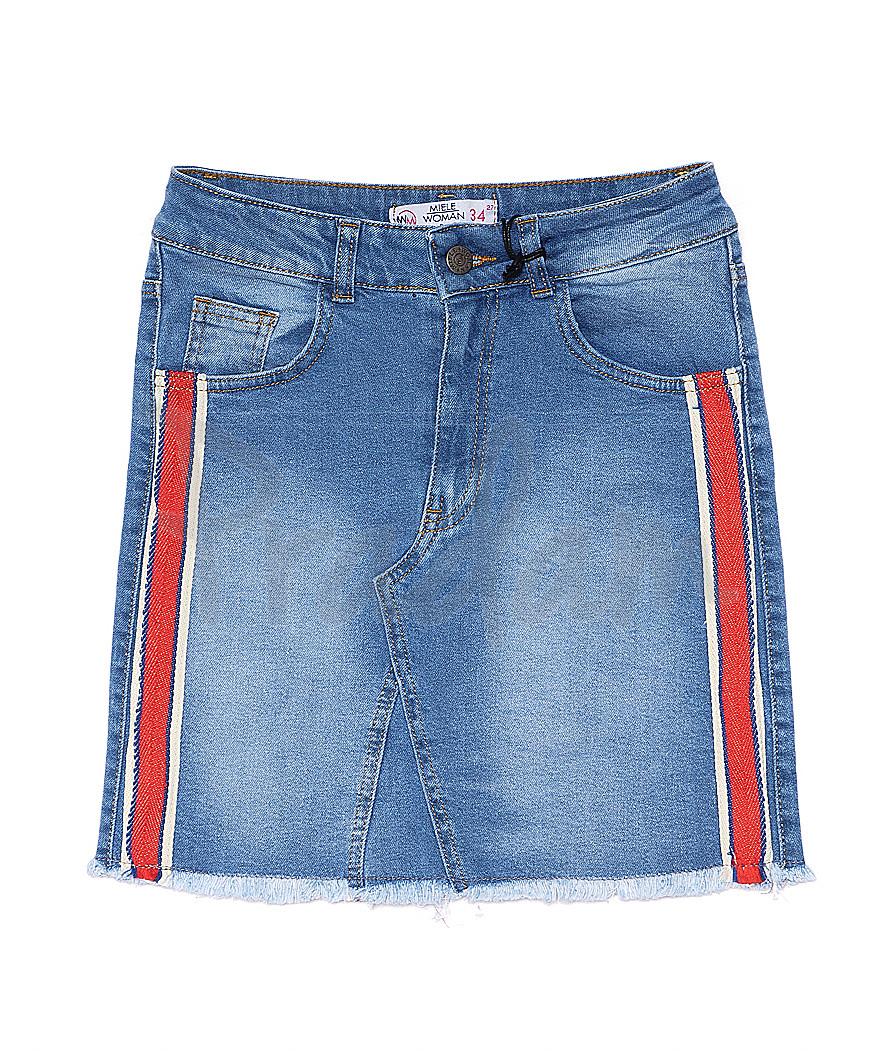 3012 Miele юбка джинсовая с лампасами стрейчевая (34-40, евро, 5 ед.)