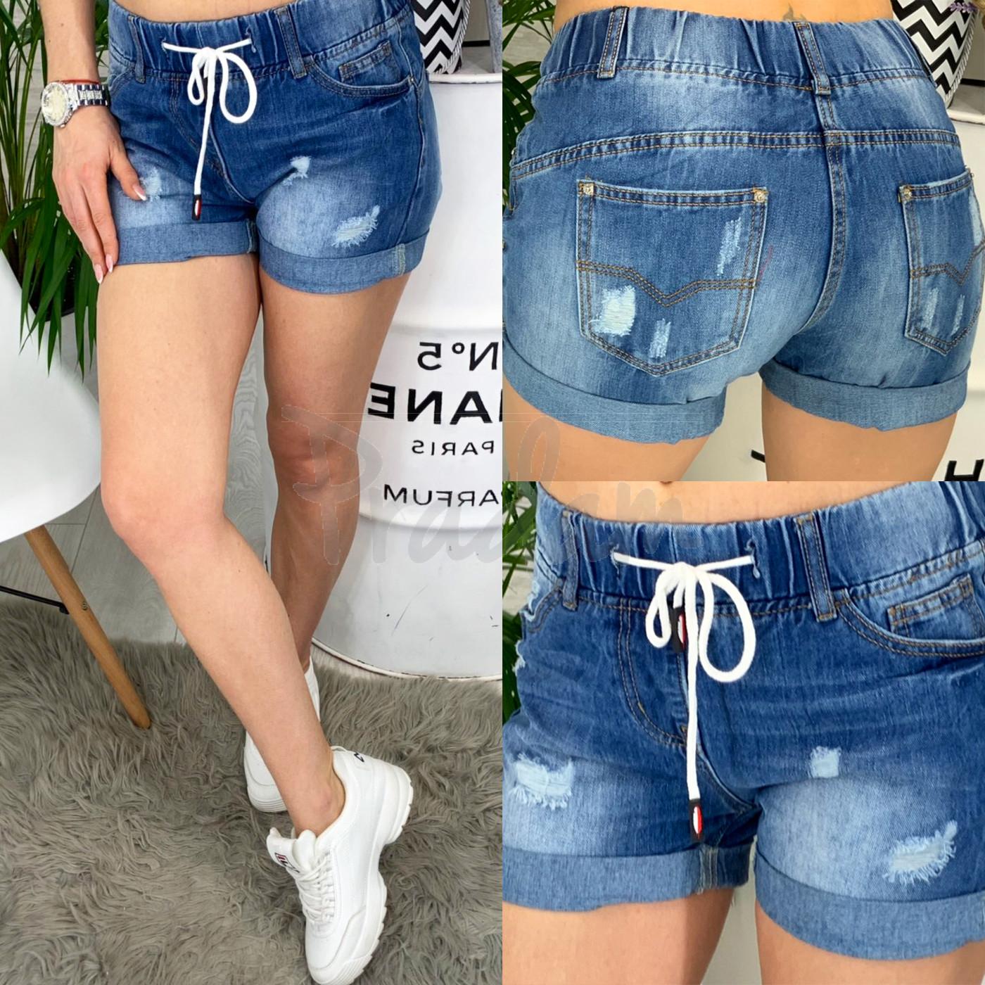 ad7c13103316 7033 New jeans шорты джинсовые женские на резинке с рванкой котоновые  (25-30, 6 ед.): артикул ...