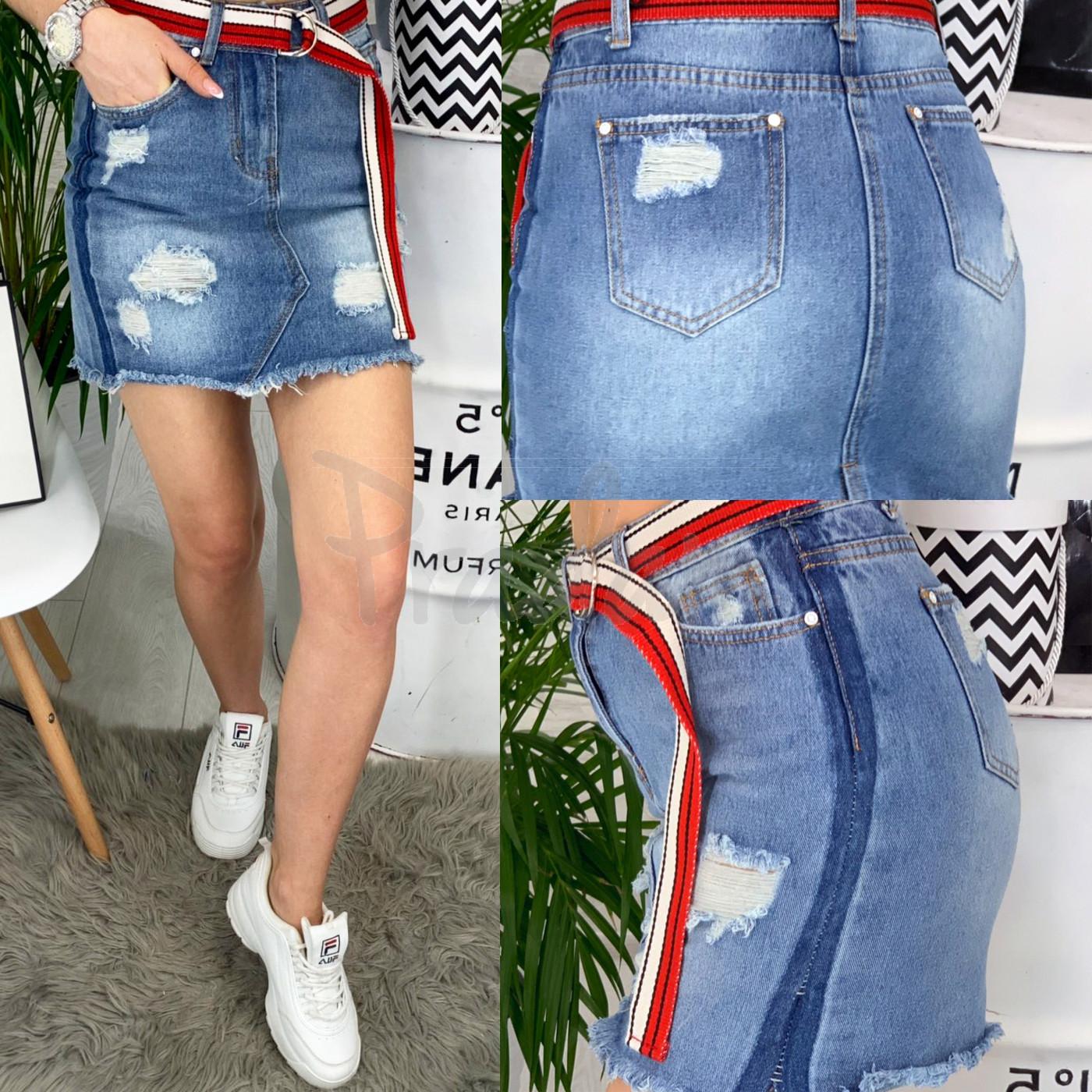 7073 New jeans юбка джинсовая с рванкой котоновая (25-30, 6 ед.)
