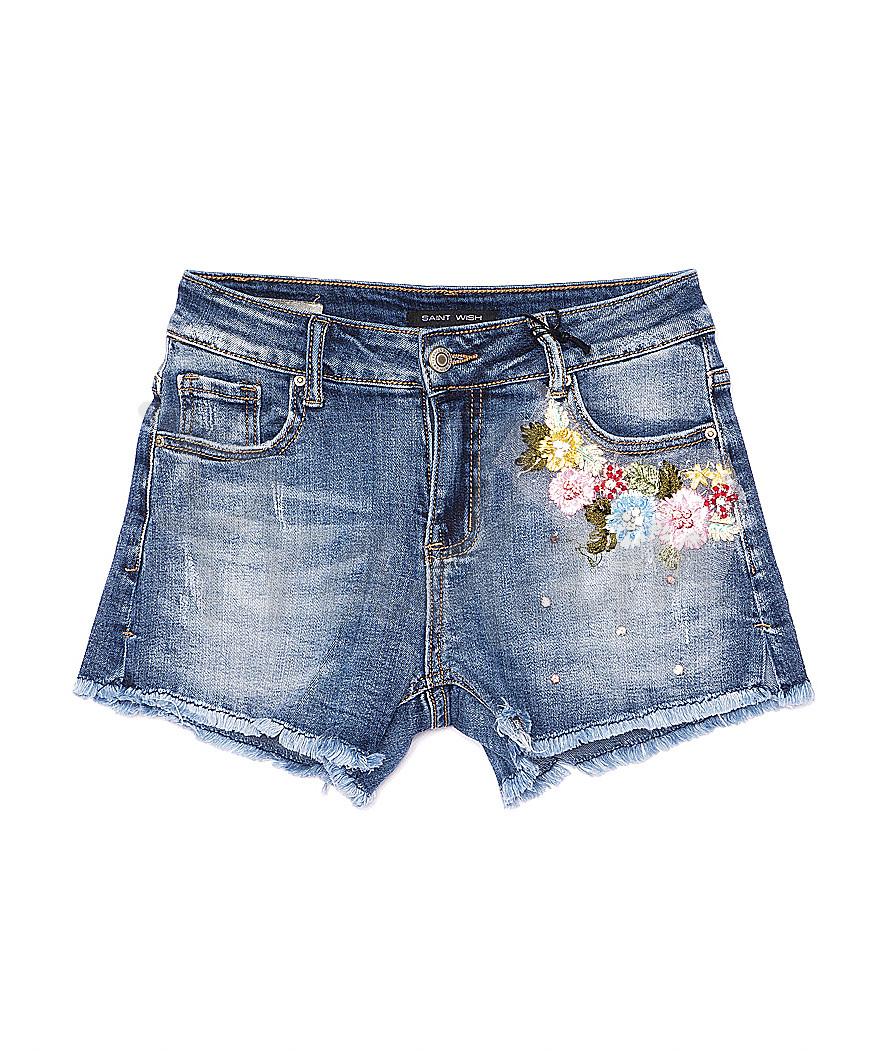 0130 Saint Wish шорты джинсовые женские с декоративной отделкой стрейчевые (25-30, 6 ед.)