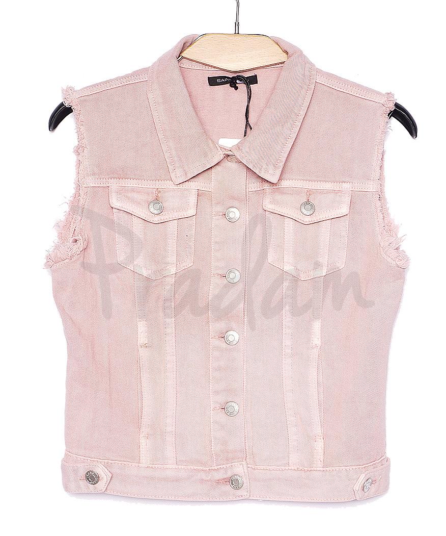 0139-3 Saint Wish жилетка джинсовая женская розовая летняя котоновая (S-L, 3 ед.)