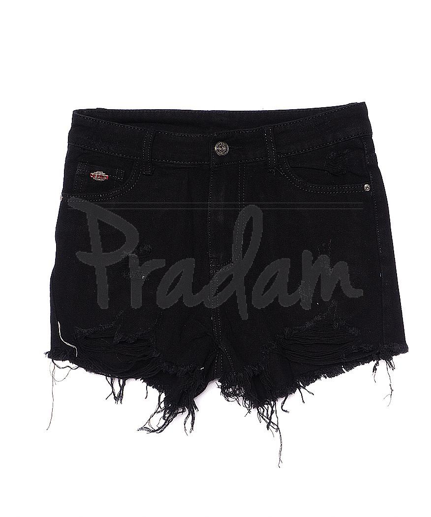 7043 New jeans шорты джинсовые женские черные с рванкой котоновые (25-30, 6 ед.)