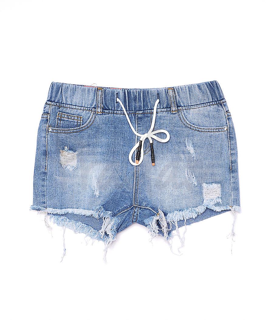 7012 New jeans шорты джинсовые женские на резинке с рванкой котоновые (25-30, 6 ед.)