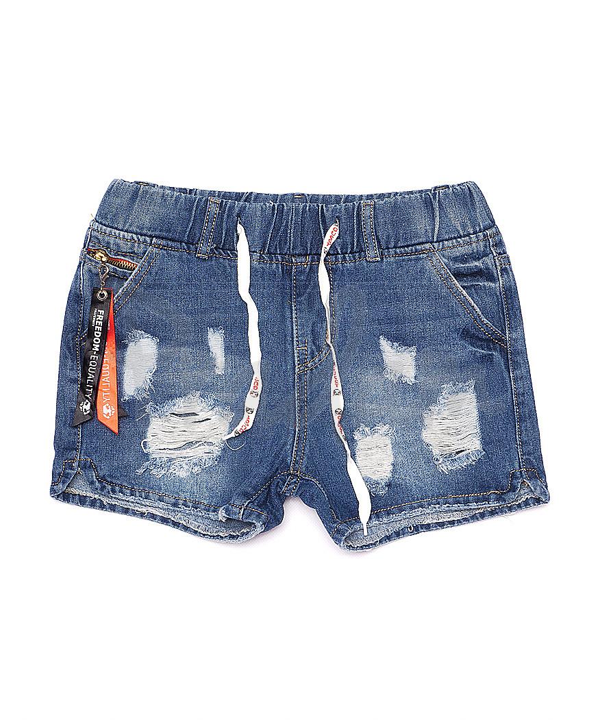 7016 New jeans шорты джинсовые женские на резинке с рванкой котоновые (25-30, 6 ед.)