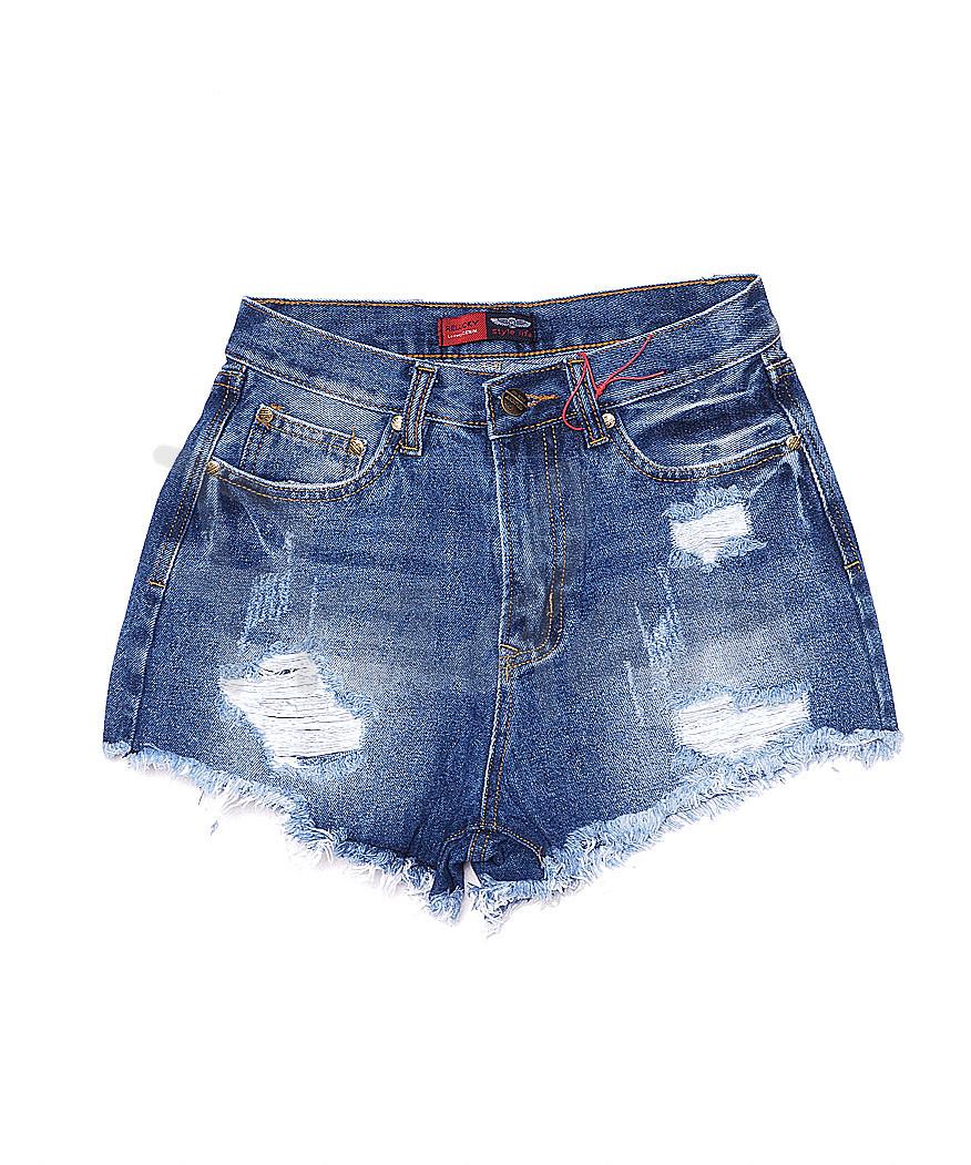 A 0054-15 Relucky шорты джинсовые женские с рванкой и царапками котоновые (25-30, 6 ед.)