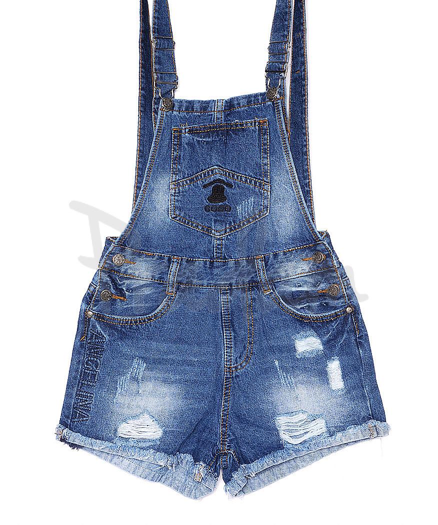 A 0032-10 Relucky комбинезон-шорты джинсовый женский с рванкой и царапками котоновый (25-30, 6 ед.)