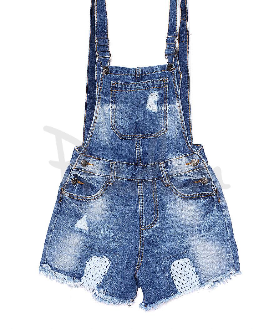 A 0027-10 Relucky комбинезон-шорты джинсовый женский с рванкой и царапками котоновый (25-30, 6 ед.)
