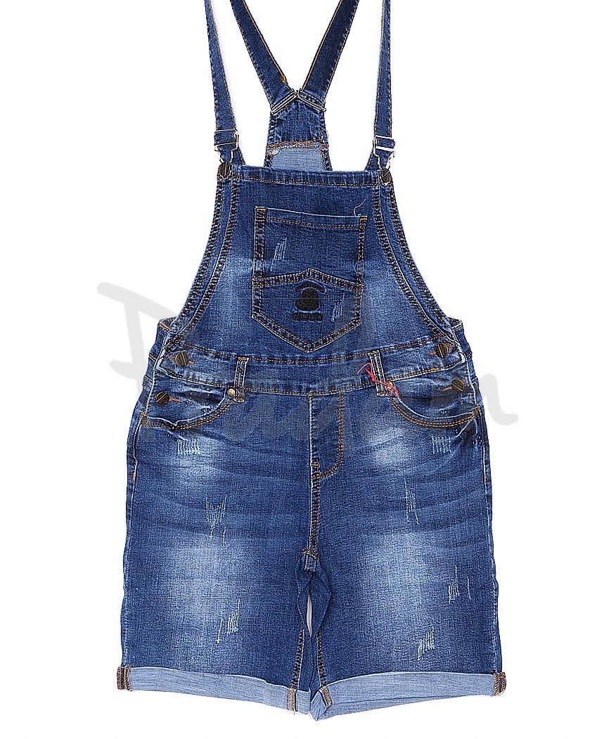 A 0134-15 Relucky комбинезон-шорты джинсовый женский батальный с  царапками стрейчевый (28-33, 6 ед.)