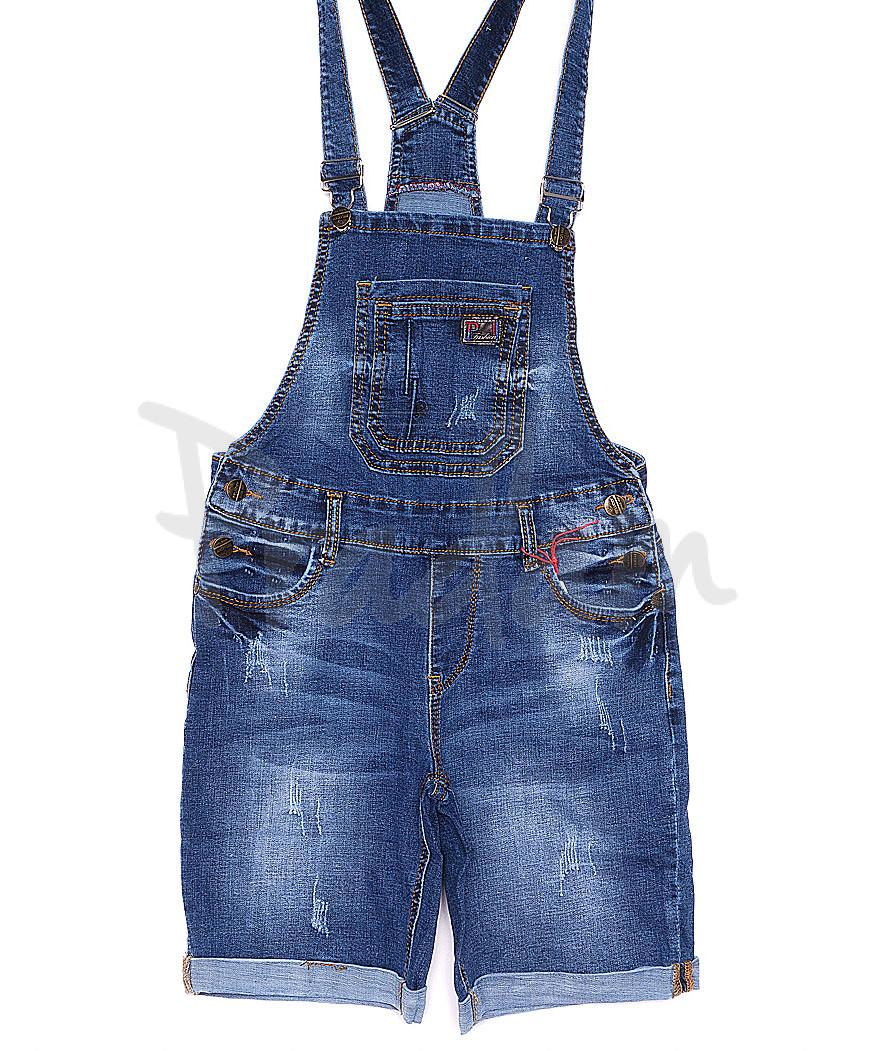 A 0136-15 Relucky комбинезон-шорты джинсовый женский с  царапками стрейчевый (25-30, 6 ед.)