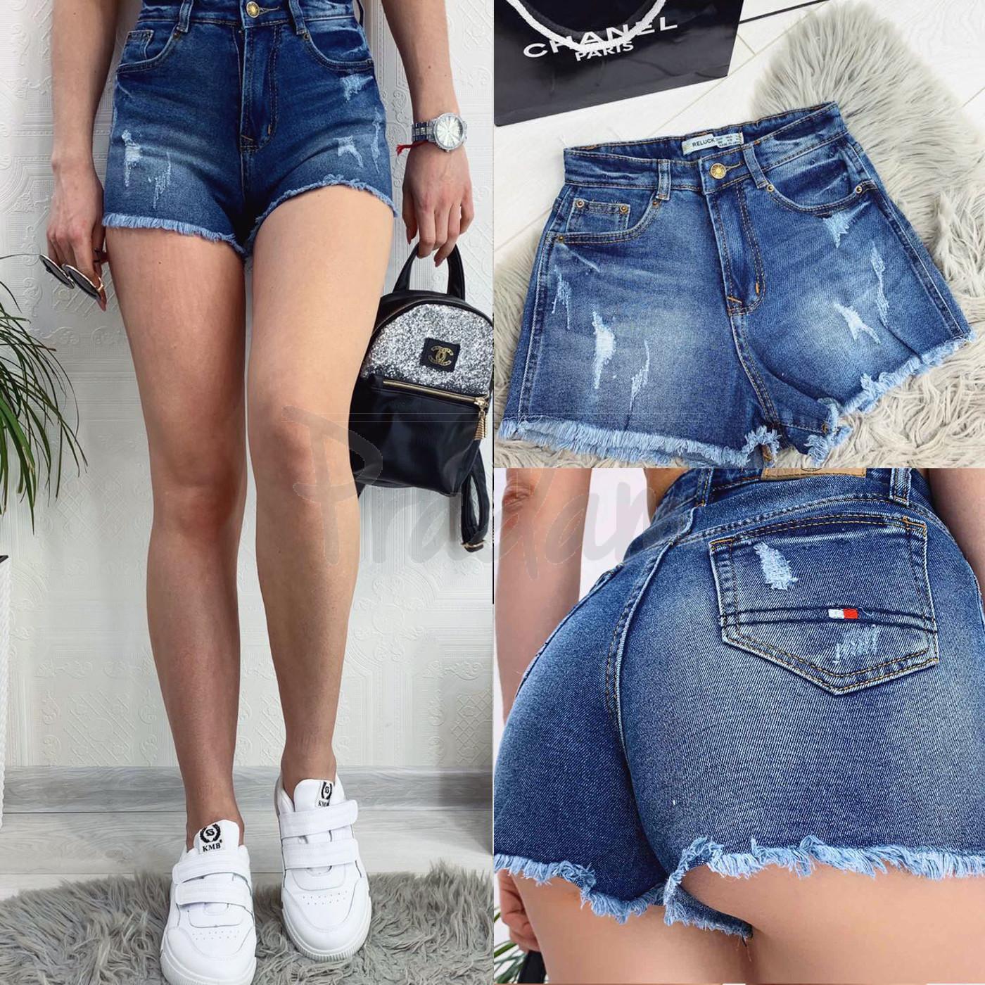 A 0068 (A68) Relucky шорты джинсовые женские с рванкой и царапками стрейчевые (25-30, 6 ед)
